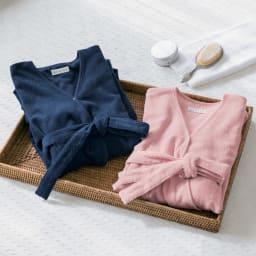 内野(ウチノ)/UCHINO さっと羽織れる レディースローブ 左から(ア)ダークブルー、(イ)ピンク