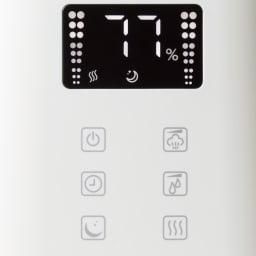 新アロマハイブリッド加湿器 操作しやすいタッチ式。液晶部はナイトモード搭載で就寝時の邪魔をしません。