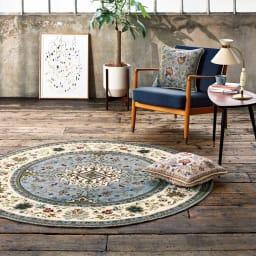 イタリア製ジャカード織ラグ〈イスタ〉 [色見本] (イ)モスグレー ※写真は円形 径175cmタイプです。