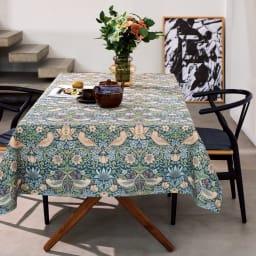 モリスデザインスタジオ ジャカード織 はっ水テーブルランナー〈いちご泥棒〉約64×240