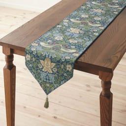 モリスデザインスタジオ ジャカード織テーブルランナー 〈いちご泥棒〉 (ウ)ブルーグリーン系