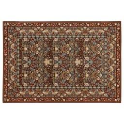 ベルギー製モリスゴブラン織ラグ〈いちご泥棒〉 (ア)ブラウン ※写真は約140×200cmです。