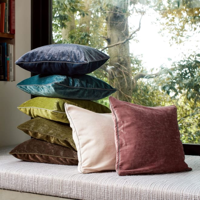トルコ製生地使用 シンプルクッションカバー 45×45cm用 右からダスティーピンク、アイボリー、左上からダークブルー、ライトブルー、ライトグリーン、グリーン、ブラウン