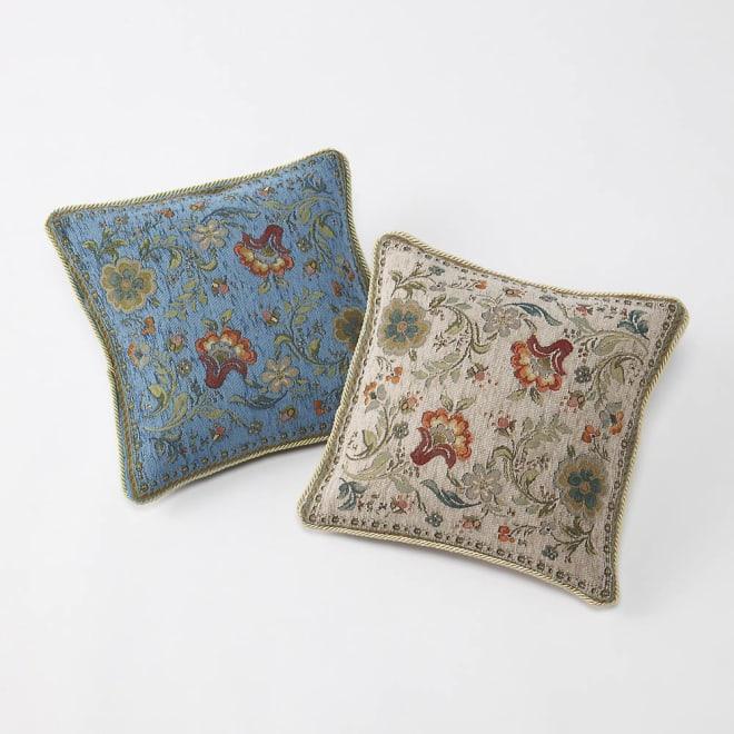 イタリア製ジャカード織クッションカバー〈イスタ〉同色2枚組 画像右(ア)グレージュ ※左のクッションは参考カラーです。
