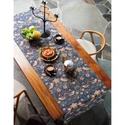 モリスデザインスタジオ ジャカード織 はっ水テーブルランナー〈いちご泥棒〉約64×180 (ア)ダークブルー