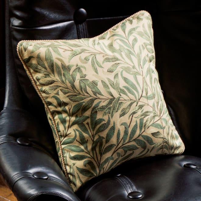 モリス ジャカード織 クッションカバー 〈 ウィローボウ 〉45×45cm用 (ア)グリーン系