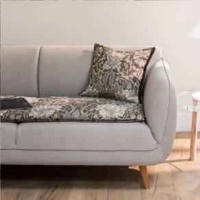 モリスデザインスタジオ ジャカード織シートマット 〈ハニーサクル&チューリップ〉 約46×46(1人掛け) 写真