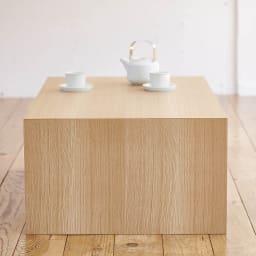 Slim すっきり折りたたみ可能なデスク 幅75cm 柾目が美しいオーク天然木の化粧合板。反りが少なく、扱いやすい。