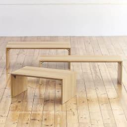 Slim すっきり折りたたみ可能なテーブル 幅120cm 上から 幅105cmタイプ、幅120cmタイプ、幅75cmタイプ