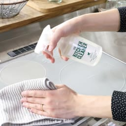 グリーンモーションECOクリーナー 3点セット(本体1・リフィル2) 油汚れを分解しやすい状況に。拭いたふきんもベトベトしにくい。