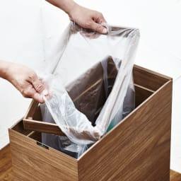 木目調ダストボックス 容量45L(引き出しなしタイプ) 内部にはゴミ袋をセットするストッパー付き。