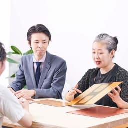 HAKU LA TABLE(ハク ラ ターブル) コースター同色2枚組(約10×10cm) 箔一のブランドディレクター鶴本氏との対談風景