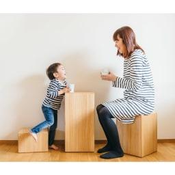 かるばこ テーブル&スツール 椅子にしたり、テーブルにしたり、組み合わせ次第でさまざまな使い方が楽しめます。