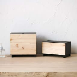 Hinoki+(ヒノキ プラス) マスク収納ボックス 引き出し1段 左は2段タイプ ※お届けは写真右の1段タイプになります。
