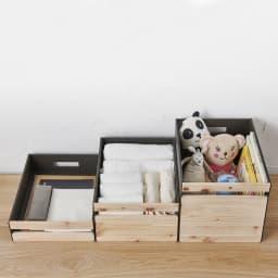 Hinoki+(ヒノキプラス)スタッキング収納ボックス Sサイズ1個 A4サイズが入る大きさで、深さが異なる3種類。文房具、タオル、おもちゃ入れなど様々に使えます。(左からSサイズ、Mサイズ、Lサイズ)