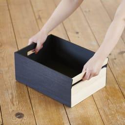 Hinoki+(ヒノキプラス)スタッキング収納ボックス Sサイズ1個 ハンドル部があるので持ち運びもラク。(※写真はMサイズ)
