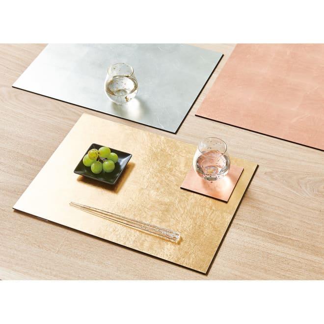 HAKU LA TABLE(ハク ラ ターブル) テーブルマット1枚(約30×40cm) 使用イメージ 写真左上:(イ)シルバー、右上:(ウ)コパー、下:(ア)ゴールド(※光の当たり加減により色の出方が異なります。)
