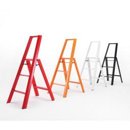 METAPHYS/メタフィス アルミステップ ルカーノ 大(3段タイプ) 左からレッド、オレンジ、ホワイト、ブラック