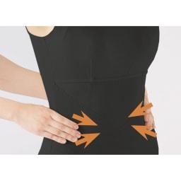 青木先生のウェルネスコントロール 姿勢サポートブラタンク 特徴2 骨盤周りからぽっこりお腹までしっかりサポート。 人の手がウエストのくびれを支えてくれているような感覚で、体幹から姿勢の崩れを防ぎます。
