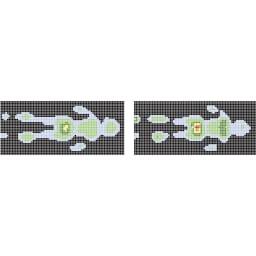西川 エアーポータブル モバイルマット 左:エアー(ベーシックタイプ) 右:一般的な敷布団 腰部の赤い部分は体圧が高めにかかっていることを示します。(※個人差があります。)
