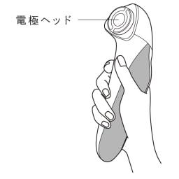 ReFa/リファ リファビューテックレイズ 使い方:本体を握り、電極ヘッドを顔に当てます。