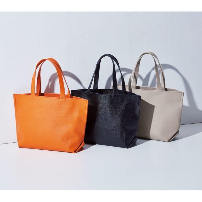 AQUALEATHER(R)/アクアレザー ミニトートバッグ 左から(ウ)オレンジ (ア)ブラック (イ)グレー