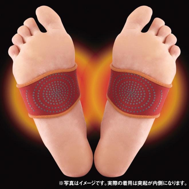 桂式保温健康足先ベルト(左右2個) ※写真はイメージです。実際の着用は突起が内側になります。