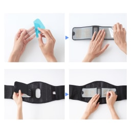 メディカラダ 腰用EMSサポーター 【ご使用方法】(1)ゲルパッドの青いフィルムを剥がす (2)ゲルパッドをコントローラーに貼付 (3)コントローラーをサポーターに付ける (4)ゲルパッドの透明なフィルムを剥がす