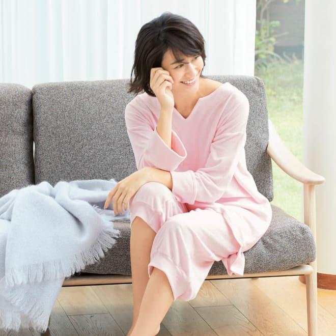 コットンパイル ナイトウェア (ア)ピンク 就寝中の汗を素早く吸収し朝までサラサラ快適に