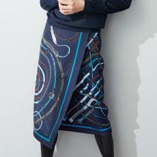 とろみ素材 プリント ラップ風スカート