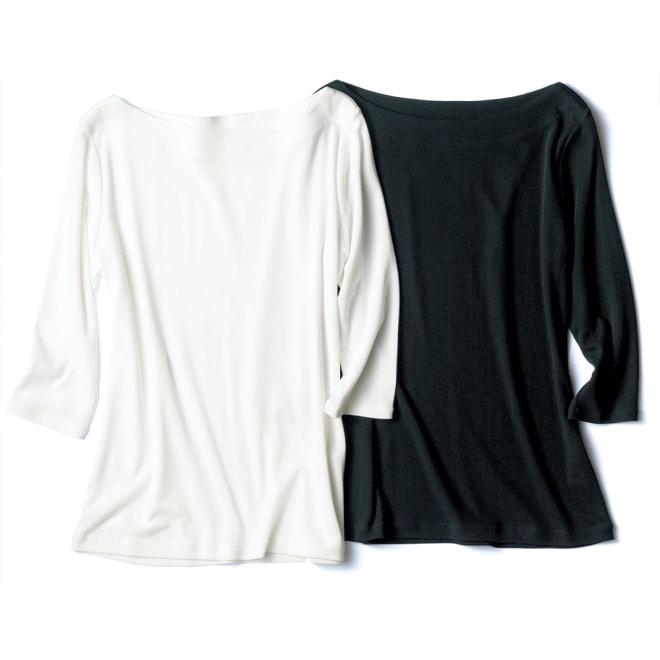 「フレスカ」 コットンスムース ボートネック Tシャツ 左から (ア)オフホワイト (イ)ブラック
