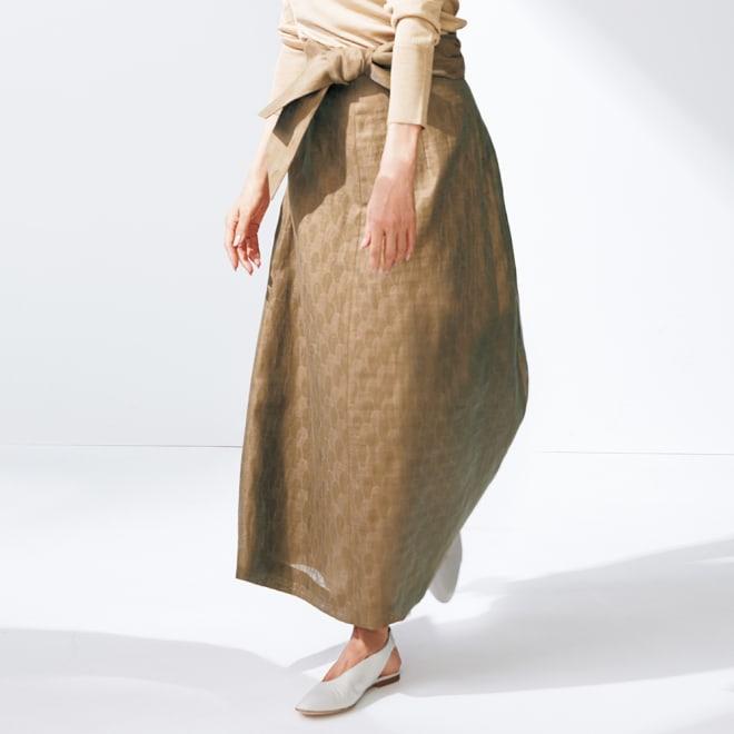 ジャカード素材 リボン付き ロングスカート 着用例