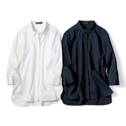 コットンブロード オーバーサイズ シャツ 左から (ア)オフホワイト (イ)ダークネイビー