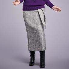 ヘリンボーンツイード ロングタイトスカート