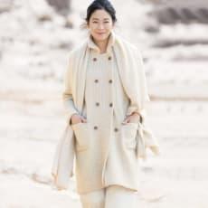 モンゴル ヌーヴォーカシミヤ 片畦編み使い Pコート