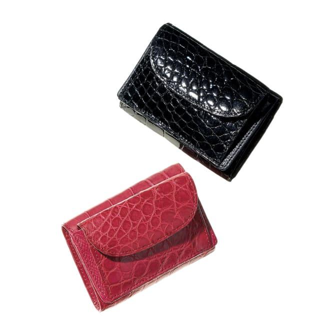 クロコダイル コンパクト 三つ折り財布 上から (ア)ブラック (イ)カーマインレッド