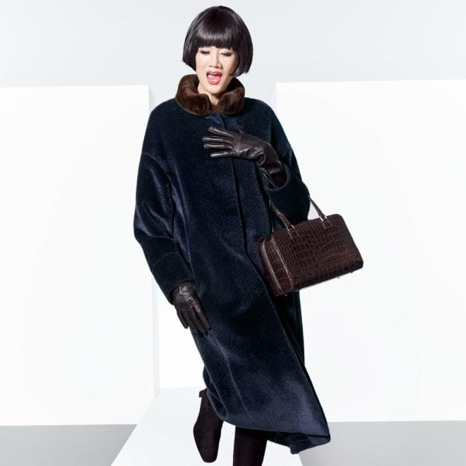 ヌートリアファー付き 「アニオナ」 シャギーコート 着用例