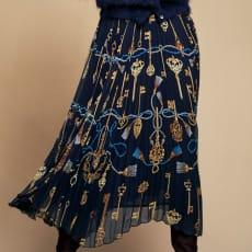 鍵柄 シフォン プリーツスカート