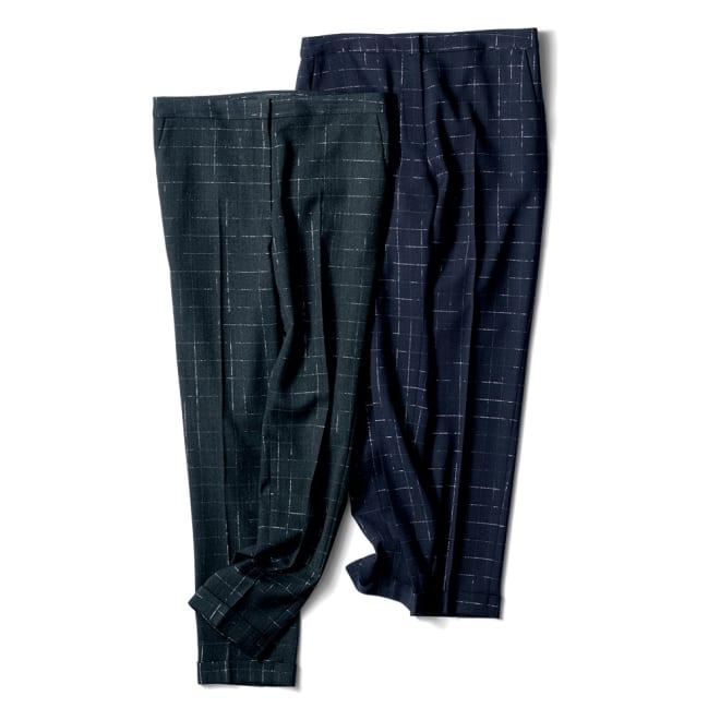 イタリア素材 ラメ チェック パンツ 左から (ア)チャコールグレー×シルバー (イ)ネイビー×シルバー