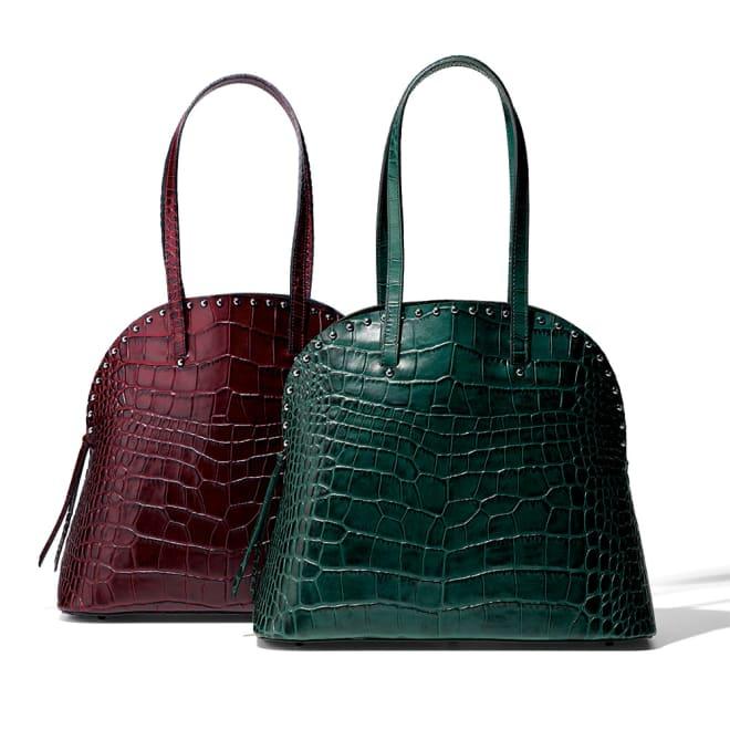 Gianni Pizzini/ジャンニピジーニ クロコ型押し バッグ(イタリア製) 左から (イ)ボルドー (ア)ダークグリーン