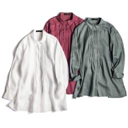 リネン タックデザイン 比翼ボタン シャツ 左から (ウ)ホワイト (ア)バーガンディ (イ)セージ