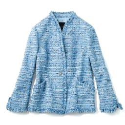 マリア・ケント社 ブルーツイード ジャケット 打ち合わせを重ねフラットにボタンが表に出る留め方