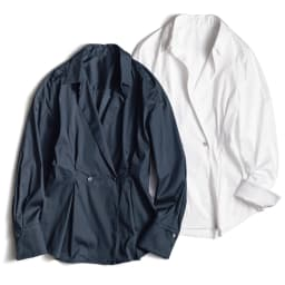 イタリア素材 コットン混 ストレッチ シャツ 左から (イ)ネイビー (ア)ホワイト