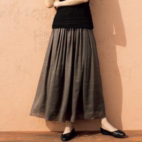 リネンシルク ロングスカート 写真
