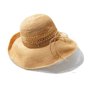 田中帽子店 ラフィア レース編み つば広帽子 写真