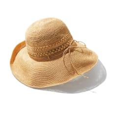 田中帽子店 ラフィア レース編み つば広帽子