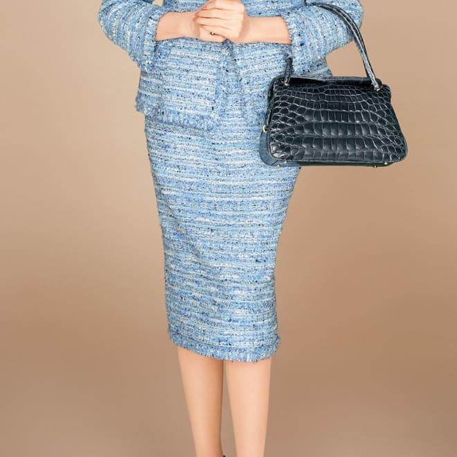 マリア・ケント社 ブルーツイード スカート 着用例