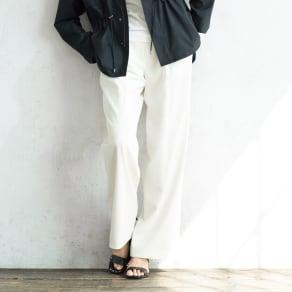 ウール混 ストレッチ セミワイドパンツ 【股下丈80cm】  写真