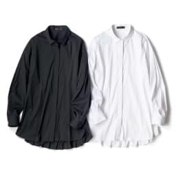 バックフリルデザイン シャツ 左から (イ)ブラック (ア)オフホワイト