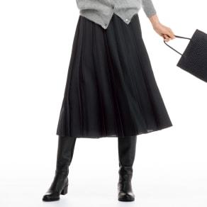 ウール混 ジョーゼット プリーツスカート 写真